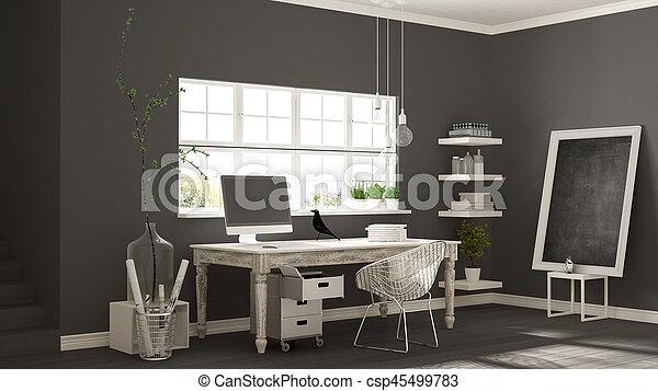 Minimalist, Zimmer, Klassisch, Haus, Buero, Skandinavisch, Arbeitsplatz,  Design,