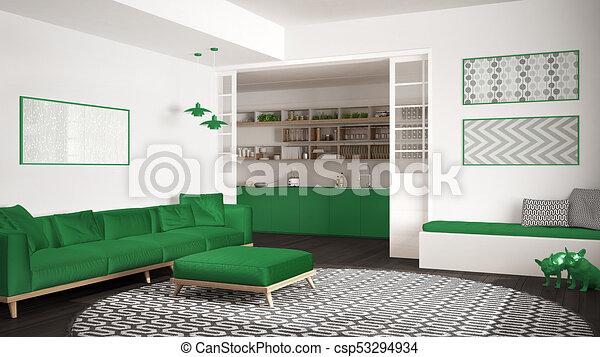 Minimalistisches Wohnzimmer Mit Sofa Grosser Runder Teppich