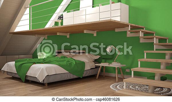 Kleurrijke Interieurs Pastel : Minimalist zolder kleurrijke classieke mezzanine groene
