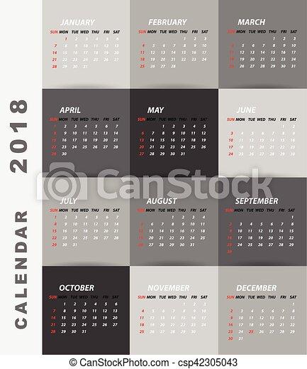 minimalista, calendario, disegno, 2018 - csp42305043