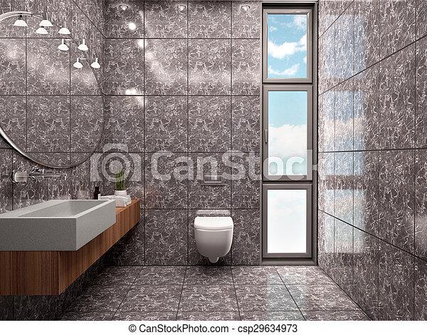 Minimalista, cuarto de baño, azulejos, moderno, estilo, ilustración ...