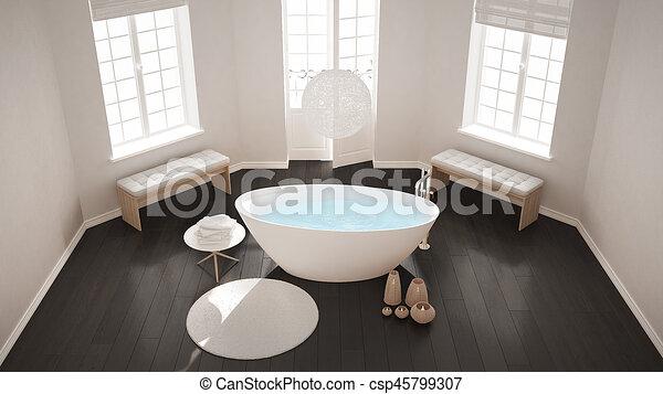 Minimalista, cuarto de baño, clásico, cima, zen, escandinavo, bañera ...