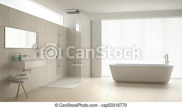 minimalista, cuarto de baño, clásico, ducha, piso, diseño, parqué,  interior, blanco, bañera, mármol, azulejos