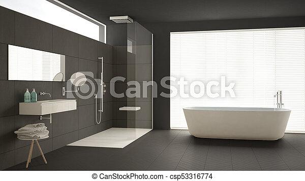 minimalista, cuarto de baño, clásico, ducha, piso, gris, diseño, parqué,  interior, bañera, mármol, azulejos