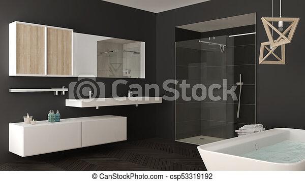 minimalista, cuarto de baño, ducha, gris, doble, bañera, brillante, diseño,  interior, fregadero