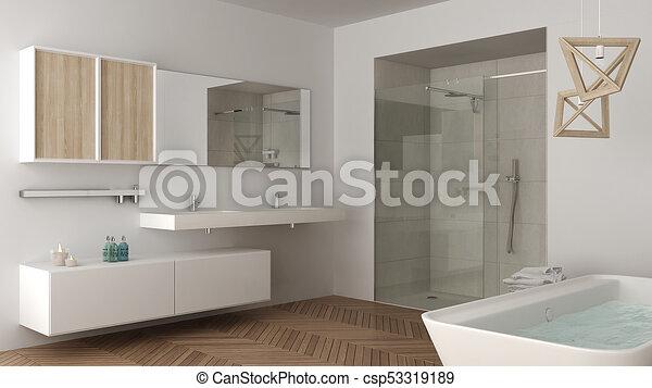 Minimalista, cuarto de baño, ducha, doble, bañera, brillante, diseño ...