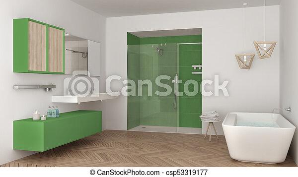 Minimalista, cuarto de baño, ducha, doble, bañera, brillante, verde ...