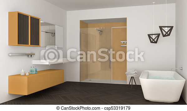 Minimalista, cuarto de baño, ducha, doble, amarillo, bañera ...