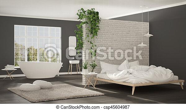 Minimalista Cuarto De Bano Habitacion Moderno Espacio - Dormitorio-diseo-moderno