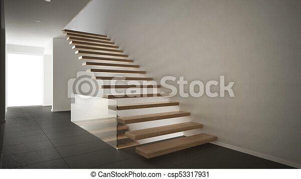 Minimalista, entrada, moderno, gris, de madera, escalera,... dibujos ...
