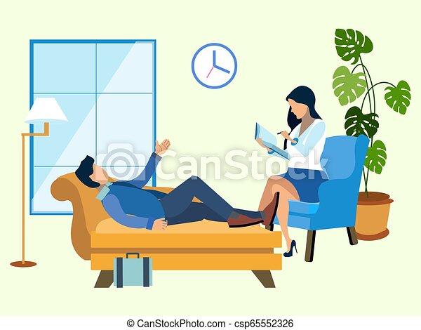 Un hombre en una recepción en el psicólogo. Al estilo minimalista. Vector isométrico plano - csp65552326