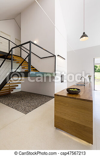 Minimalista moderno escalera cocina minimalista for Casa minimalista interior cocina