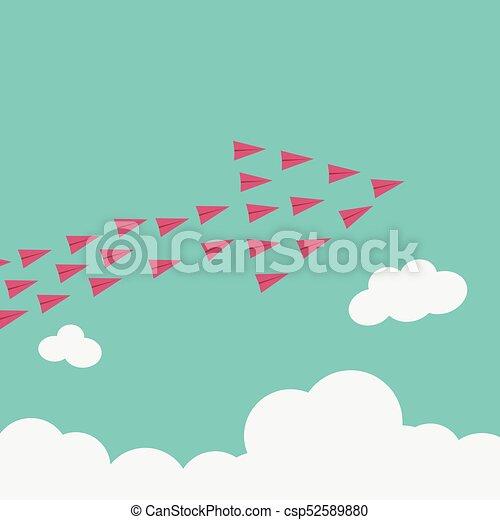minimalista, mudança, stile, solução, voando, tendência, criativo, high.vision, idéia, crescimento, maneira, inovação, coragem, novo, avião, original, concept., vermelho - csp52589880