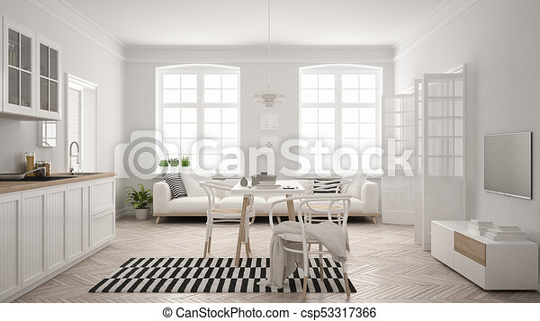 minimalista, soggiorno, moderno, scandinavo, cenando, disegno, interno,  tavola, bianco, cucina