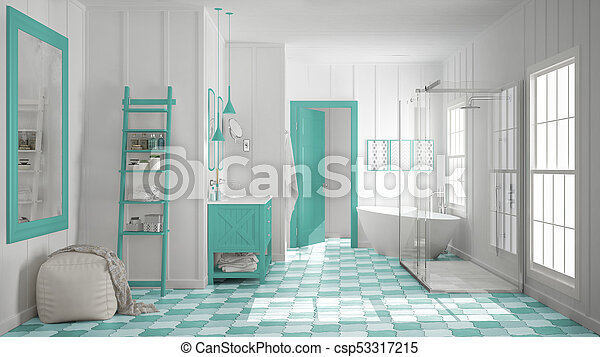 Minimalista, turquesa, cuarto de baño, clásico, ducha, escandinavo ...