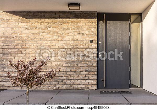 Minimaliste Brique Rouges Exterieur Maison Minimaliste Porte