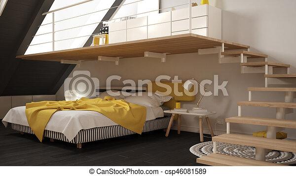 Minimaliste, grenier, classique, mezzanine, jaune, scandinave ...
