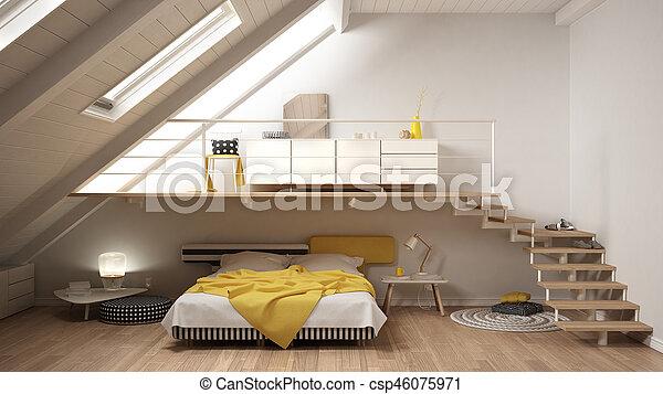 Image de minimaliste, grenier, classique, mezzanine, jaune ...