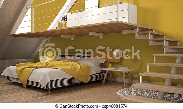 Minimaliste, grenier, coloré, classique, mezzanine, jaune ...