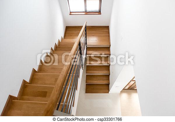 minimaliste, grenier, escalier, bois, moderne, étapes, luxe, architectural,  intérieur, home., design.