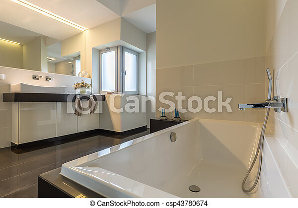 minimaliste, salle bains, baignoire