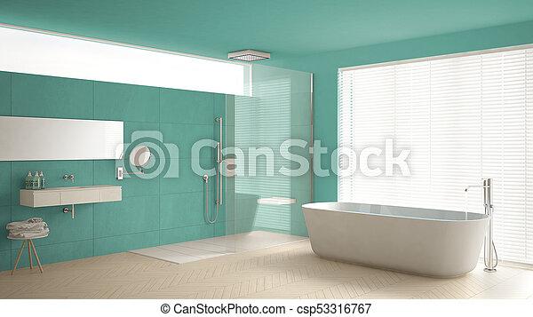Minimaliste, salle bains, classique, douche, plancher, turquoise ...