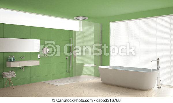 minimaliste, salle bains, classique, douche, plancher, vert, parquet,  conception intérieur, blanc, baignoire, marbre, tuiles