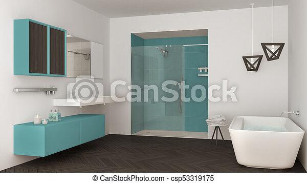 minimaliste, salle bains, douche, double, turquoise, baignoire, clair,  conception, intérieur, sombrer, blanc