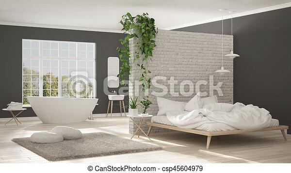 minimaliste, salle bains, salle, moderne, espace, scandinave, appartement,  chambre à coucher, conception intérieur, blanc, une, ouvert