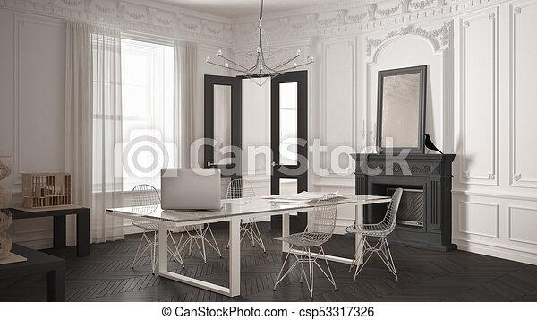 Minimaliste, salle, bureau, classique, vendange, moderne, gris ...