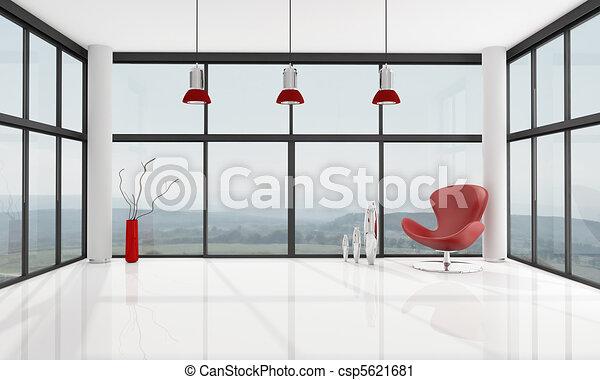 minimaliste, salle, vide, vivant - csp5621681