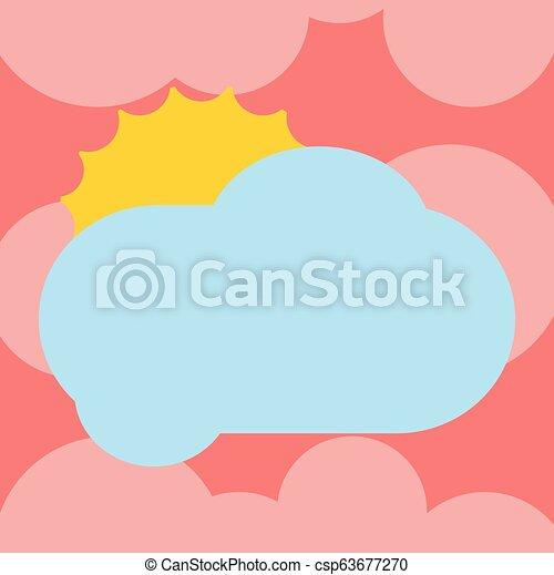 minimaliste, vide, graphique, disposition, annonces, affaires colorent, soleil, pelucheux, vide, isolé, derrière, vecteur, conception, publicité, gabarit, affiche, dissimulation, nuage, briller - csp63677270