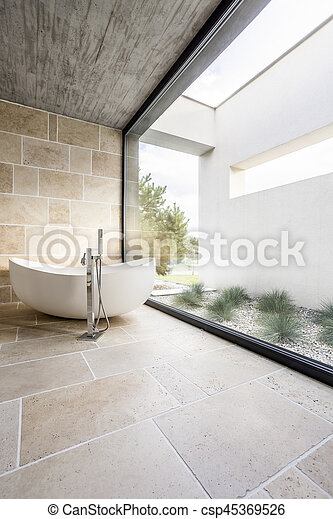 Minimalistic bathroom with window - csp45369526