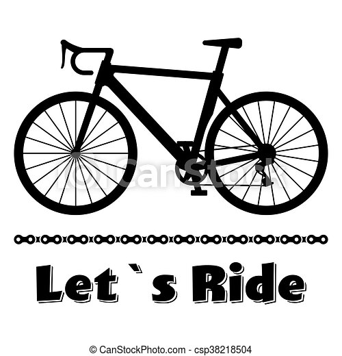 Minimalistic bike poster lets ride black road racing bicycle with a chain vector illustration