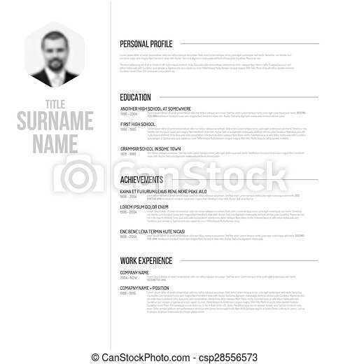 Minimalistic Black And White Cv Resume Template Vector