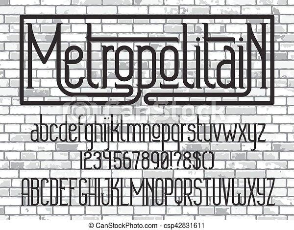 minimalistic, font., oeil caractère, metropolitain - csp42831611