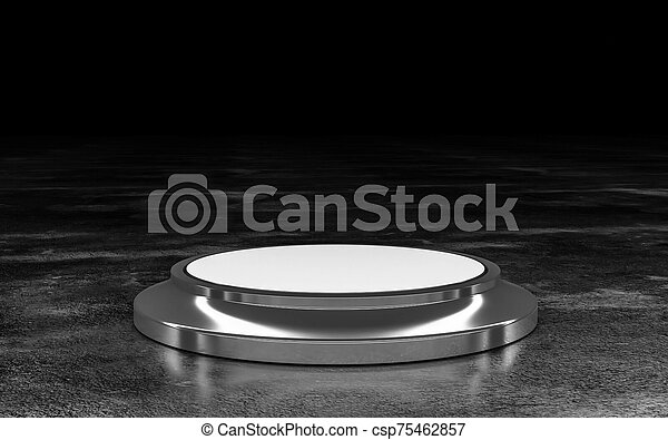 Minimalistic showcase with empty space in modern futuristic style on dark industrial grunge background 3d illustration render low key - csp75462857