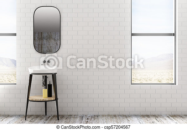 Minimalistic white brick bathroom - csp57204567