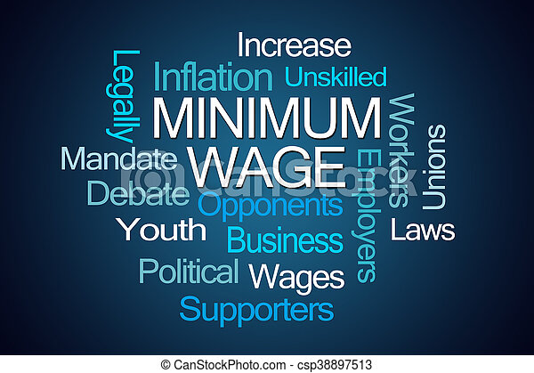 Minimum Wage Word Cloud - csp38897513