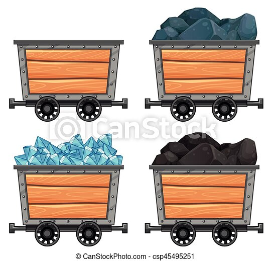 Mining carts loaded with stones and diamond illustration.