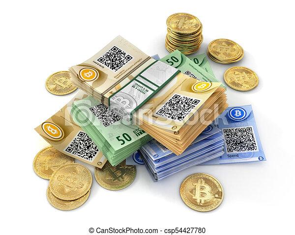 mining., isolé, illustration, bitcoin, white., monnaie, 3d - csp54427780
