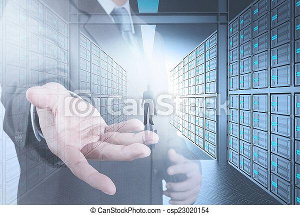 ministráns, ügy, hálózat, ember, konstruál, 3, szoba, fogalom - csp23020154