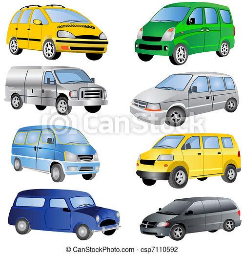 minivan, jogo, ícones - csp7110592