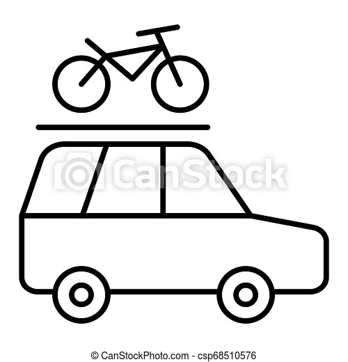 Minivan with a bicycle on a roof rack vector line icon isolated on white background. Car trip with a bicycle on a roof rack line icon for infographic, website or app. - csp68510576