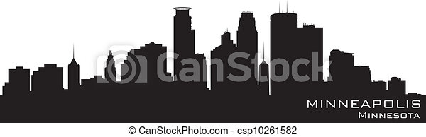 Minneapolis, Minnesota skyline. Detailed vector silhouette - csp10261582