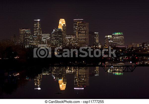 Minneapolis Night Skyline - csp11777255
