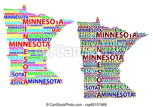 Sketch Minnesota United States Of America Letter Text Map