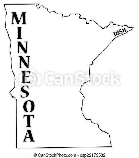 Attractive A Minnesota State Outline With The Date Of Statehood Isolated On A White  Background