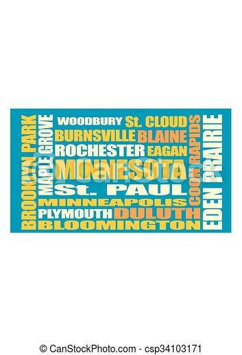 Minnesota state cities list - csp34103171