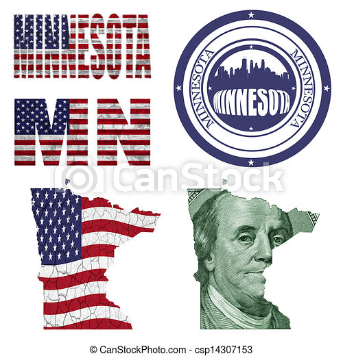 Minnesota State Collage Map Stampwordabbreviation In Different